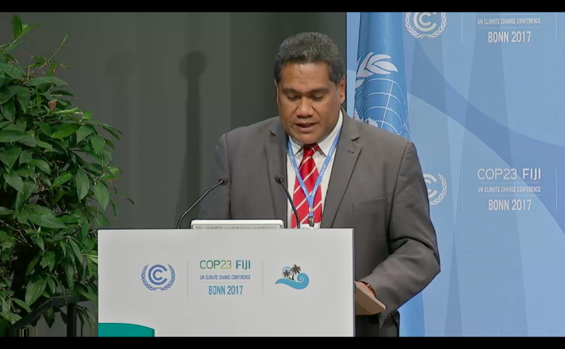 Delivering Tonga's National Statement at COP23, Head of Delegation and CEO for MEIDECC, Mr. Paula Pouvalu Ma'u.