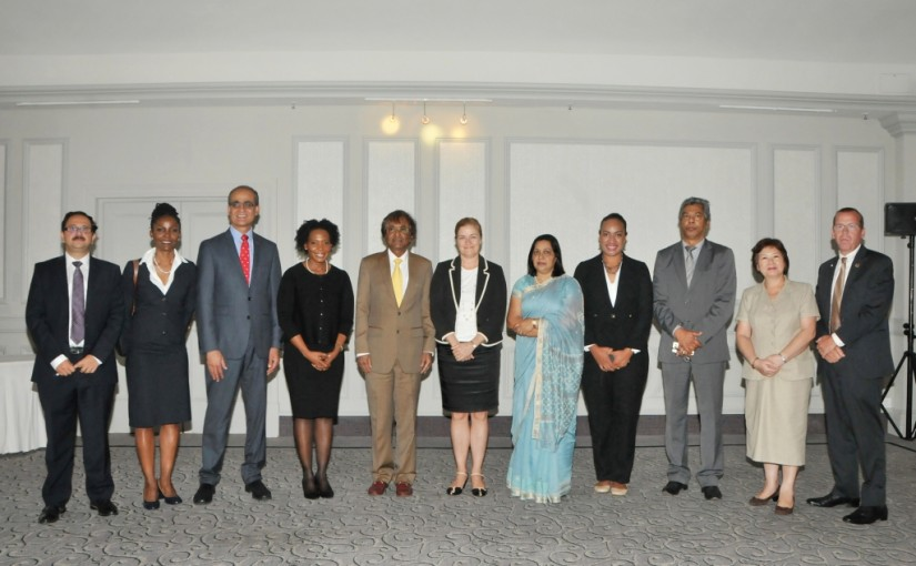 H.E Susan Coles (middle) Australian High Commissoner to Mauritius and officials from Commonwealth countries at the first CFAH Steering Committee, Port Louis, Mauritius