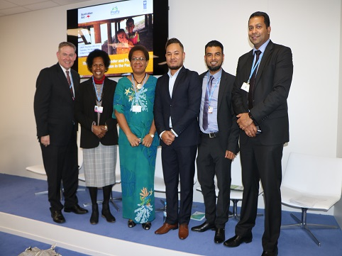 'Mr. Samuela Pohiva' of Tonga (third from right) with fellow panelists at the event'.